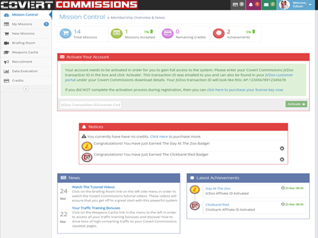 Covery Commissions Dashboard